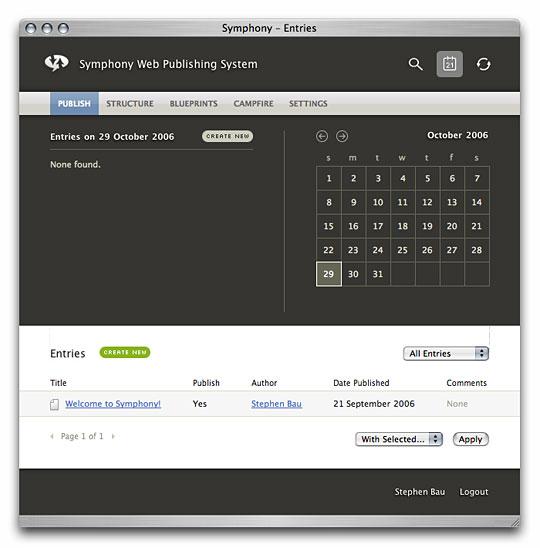 Symphony Admin : Calendar Widget