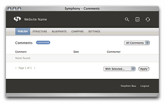 Symphony Admin : Publish : Comments