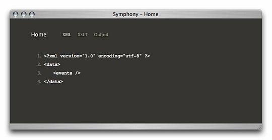Symphony Admin : Home Page - Debug Information - XML