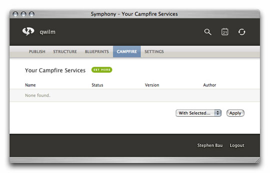 Symphony Admin : Campfire : Your Services