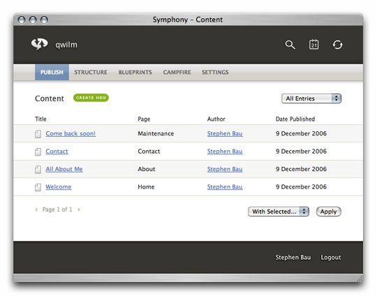 Symphony Admin : Publish : Content