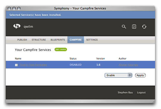 Symphony Admin : Campfire : Your Campfire Services : Enable