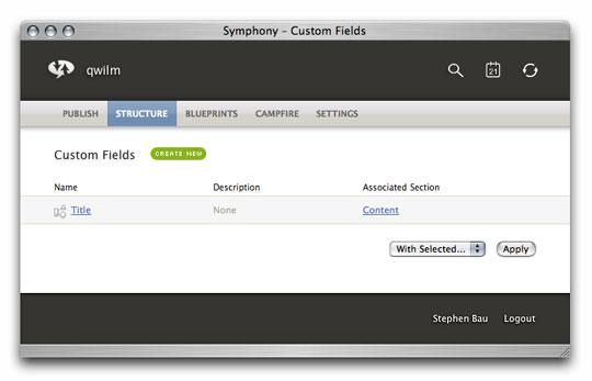 Symphony Admin : Structure : Custom Fields