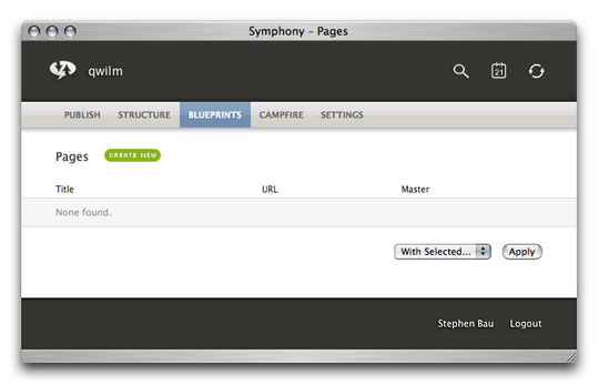 Symphony Admin : Pages