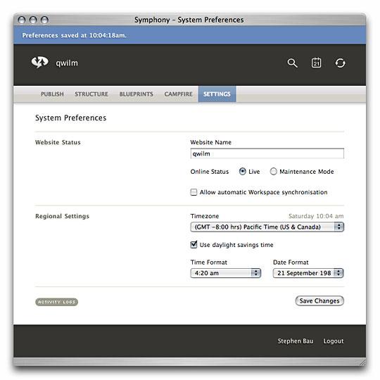 Symphony Admin : Settings : System Preferences Saved
