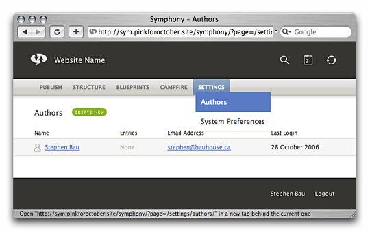 Symphony Admin : Settings : Authors