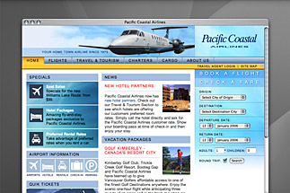 Pacific Coastal Airlines Website